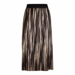 Alice + Olivia Mikaela Pleated Foil-print Midi Skirt