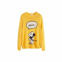 Chinti & Parker Yellow Snoopy Woof Cotton Sweater
