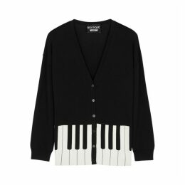 Boutique Moschino Black Piano-print Stretch-knit Cardigan