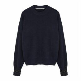 Alexander Wang Navy Crystal-embellished Wool-blend Jumper