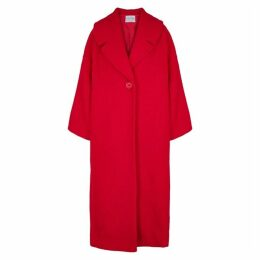 Mariam Al Sibai Red Oversized Bouclé-knit Coat