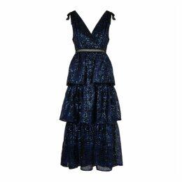 Self-Portrait Black Sequin-embellished Mesh Midi Dress