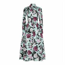 Erdem Josianne Blue Floral-print Poplin Midi Dress