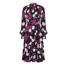Erdem Amalia Maroon Floral-print Midi Dress