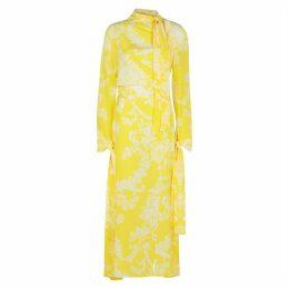 Acne Studios Yellow Printed Silk Dress