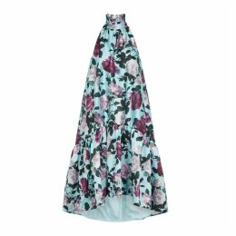 Erdem Belita Blue Floral-print Organza Dress