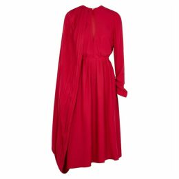 Magda Butrym Vasto Raspberry Cape-effect Silk Dress