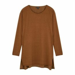 EILEEN FISHER Brown Silk-blend Jersey Top