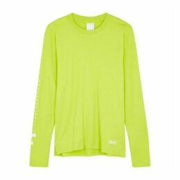 Reebok X Victoria Beckham Neon Yellow Printed-logo Cotton Top