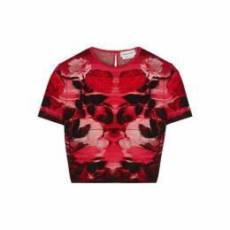 Alexander McQueen Red Floral-jacquard Silk-blend Top