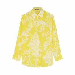 Acne Studios Yellow Printed Silk Shirt