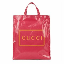 Gucci Pink Logo Coated Canvas Tote
