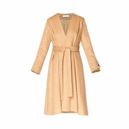 PAISIE - A-Line Collarless Coat With Cuff Details (With Self Belt) In Sand