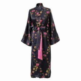 Castlebird Rose - Long Kimono Robe Deep Purple