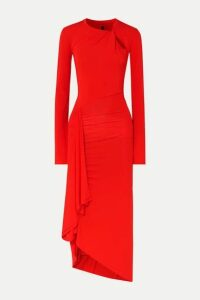 Unravel Project - Twisted Draped Stretch-jersey Midi Dress - Red