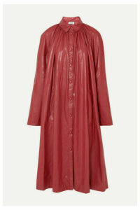 we11done - Gathered Faux Leather Midi Dress - Burgundy