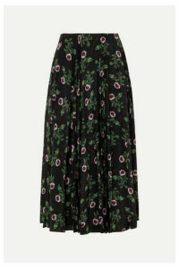 Valentino - Floral-print Pleated Silk-chiffon Midi Skirt - Black
