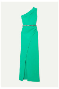 Safiyaa - Camille One-shoulder Crystal-embellished Crepe Gown - Green