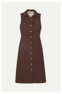 ALEXACHUNG - Floral-print Denim Midi Dress - Dark denim