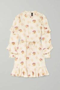 Needle & Thread - Bessie Belted Ruffled Floral-print Satin Mini Dress - Cream