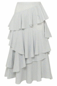 ALEXACHUNG - Tierdrop Ruffled Printed Cotton-twill Midi Skirt - Ivory
