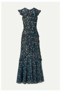 Saloni - Tamara Ruffled Metallic Fil Coupé Silk-blend Georgette Maxi Dress - Blue