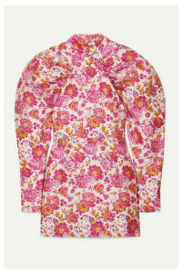 ROTATE Birger Christensen - Button-detailed Ruched Floral-jacquard Mini Dress - Pink