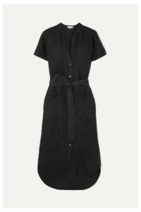 James Perse - Belted Linen Midi Dress - Navy