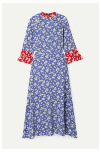 HVN - Ashley Floral-print Silk Crepe De Chine Midi Dress - Blue