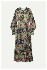 ROTATE Birger Christensen - Open-back Floral-print Crepe Maxi Dress - Sage green