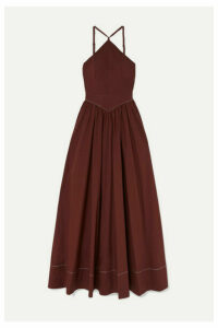 STAUD - Natasha Stretch-cotton Poplin Halterneck Maxi Dress - Merlot