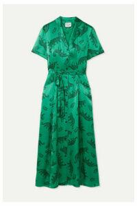 HVN - Long Maria Printed Silk-satin Midi Dress - Emerald