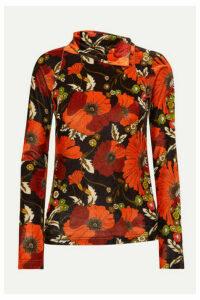 Dodo Bar Or - Brenda Floral-print Stretch-velvet Turtleneck Top - Orange