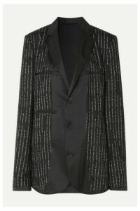 Unravel Project - Oversized Satin-trimmed Jacquard Blazer - Black