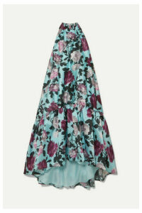 Erdem - Belita Asymmetric Ruffled Floral-print Gazar Midi Dress - Blue