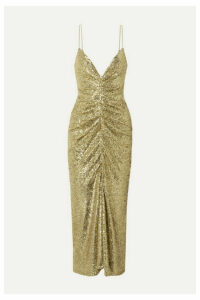 Monique Lhuillier - Ruched Sequined Tulle Midi Dress - Gold
