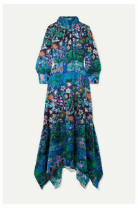 Peter Pilotto - Asymmetric Printed Silk-blend Cloqué Midi Dress - Blue
