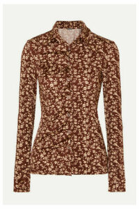 Dodo Bar Or - Paya Ruched Floral-print Stretch-jersey Shirt - Brown