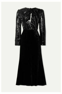 Racil - Cutout Sequined Mesh And Velvet Midi Dress - Black