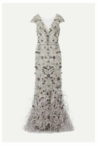 Marchesa - Embellished Feather-trimmed Tulle Gown - Stone
