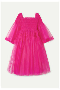 Molly Goddard - Pearl Shirred Tulle Midi Dress - Pink