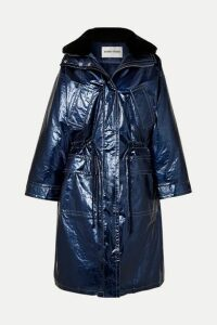 Stand Studios - Fatima Oversized Faux Fur-trimmed Crinkled Metallic Faux Leather Coat - Blue