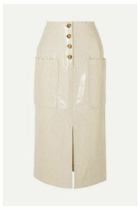 REJINA PYO - Carmen Button-embellished Coated Wool-blend Midi Skirt - Ivory