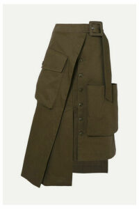 Jacquemus - Thika Asymmetric Cotton-gabardine Midi Skirt - Army green