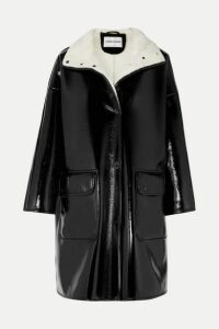 Stand Studios - Vanessa Oversized Faux Fur-lined Glossed Faux Leather Coat - Black
