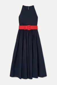 J.Crew - Corinna Belted Cotton-poplin Midi Dress - Navy
