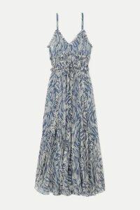 Lee Mathews - Zola Ruffled Printed Silk-crepon Midi Dress - Blue