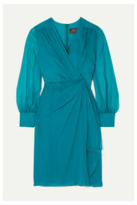Max Mara - Elegante Knotted Silk-chiffon Dress - Turquoise