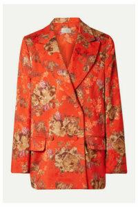 Preen by Thornton Bregazzi - Gillian Oversized Floral-print Satin-jacquard Blazer - Tomato red