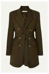 REJINA PYO - Elliot Belted Double-breasted Layered Wool-blend Twill Blazer - Army green